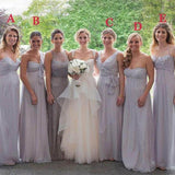 Mismatched Top Pleated Long A-Line Chiffon Bridesmaid Dresses, Simple Bridesmaid Dresses, VB02315