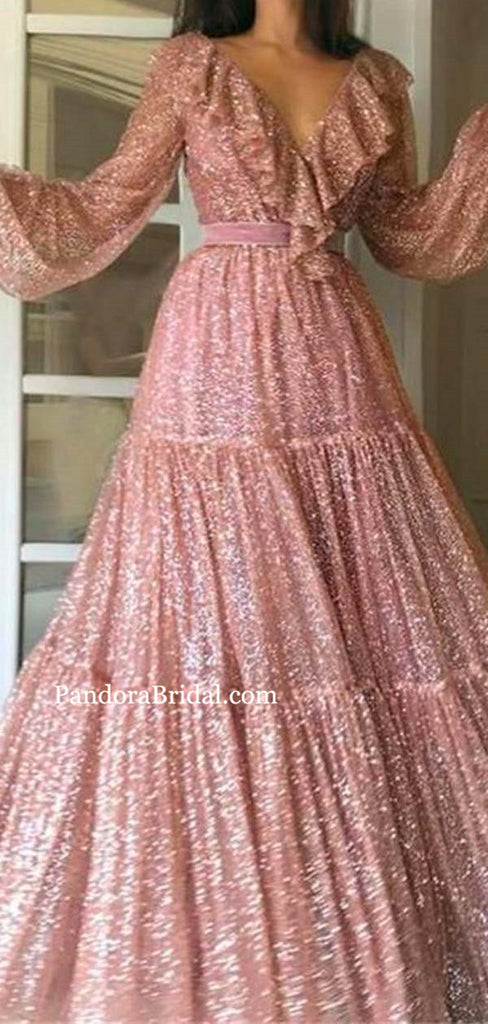 Elegant V-Neck Long Sleeve Cupcake Shiny Prom Dresses, Newest Prom Dresses, PD0553