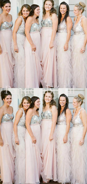 Mismatched Top Sequin Sheath Bridesmaid Dresses, PD01706