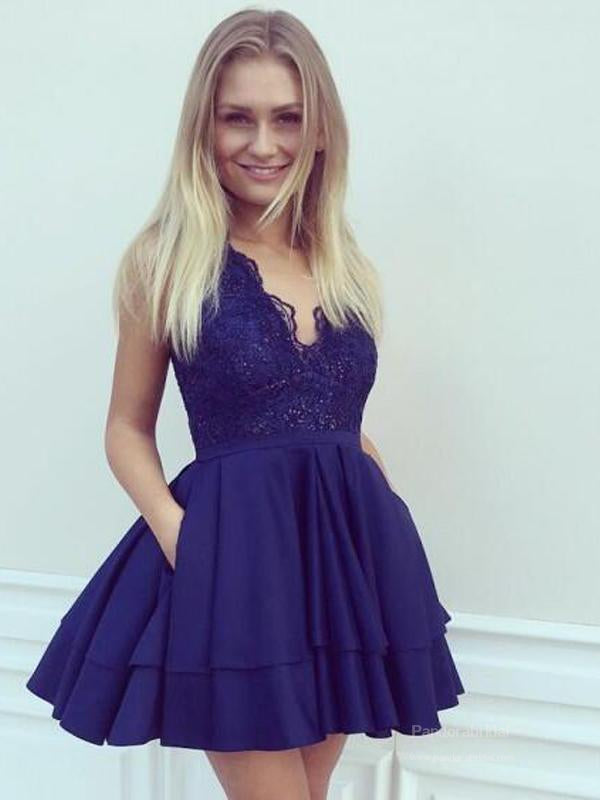 Charming V-Neck Navy Blue Lace Top Layered Homecoming Dresses, Homecoming Dresses, VB02491