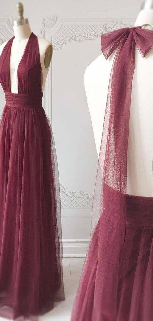 Elegant Bean Paste Color Halter Long A-Line Tulle Prom Dresses, Affordable Prom Dresses, VB01912