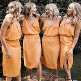 Unique Burnt Orange Spaghetti Straps Sheath Side Slit Bridesmaid Dresses, PD01707