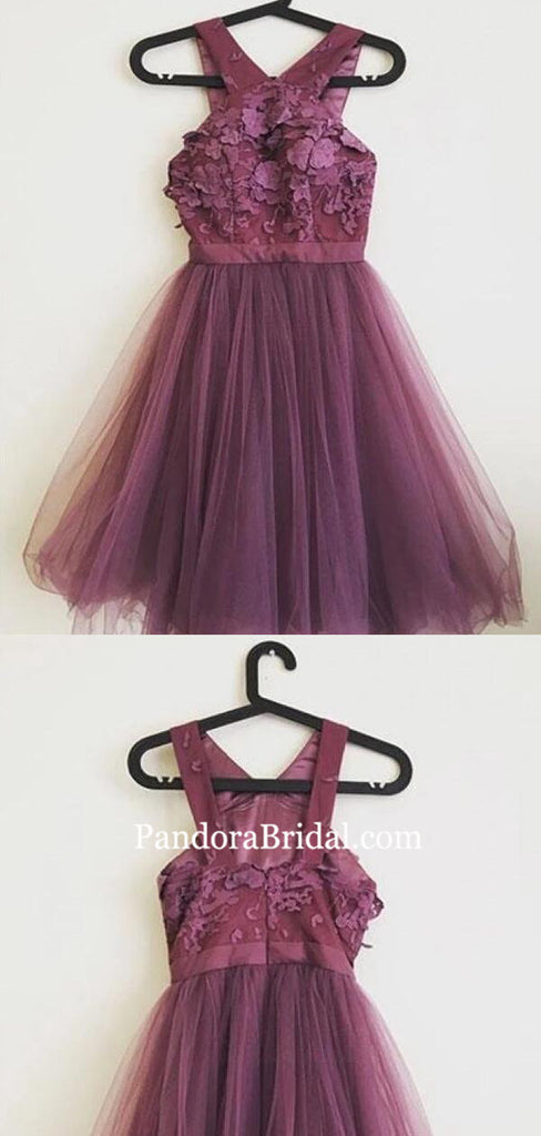 Charming Straps Zipper Up Short A-Line Tulle Homecoming Dresses, 2019 Homecoming Dresses, PD0817