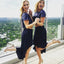 Navy Blue Top Sequin Two Pieces Bridesmaid Dresses, PD01777