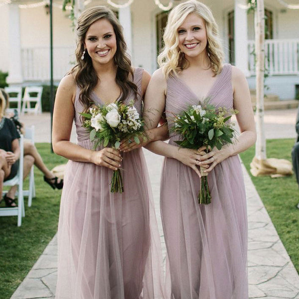 Alluring V-Neck A-Line Tulle Bridesmaid Dresses, PD01761