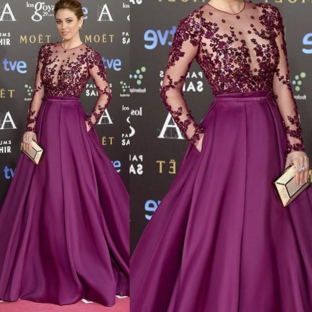 Red Carpet Inspired Plum See Through Beaded Sexy Long Sleeve A-line Satin Prom Dresses, PD0197