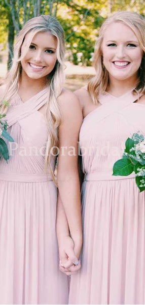 Sweet Pink Crisscross Neck Top Pleated Chiffon Bridesmaid Dresses, PD01708