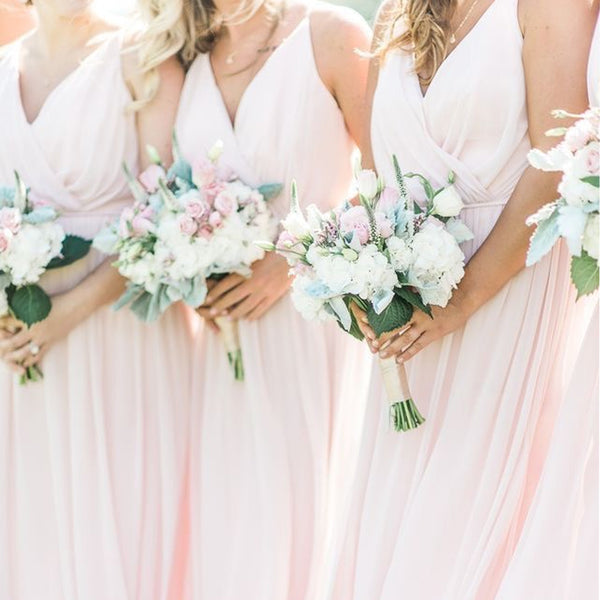 Blush Pink Spagehtti Straps Chiffon Bridesmaid Dresses, PD01762
