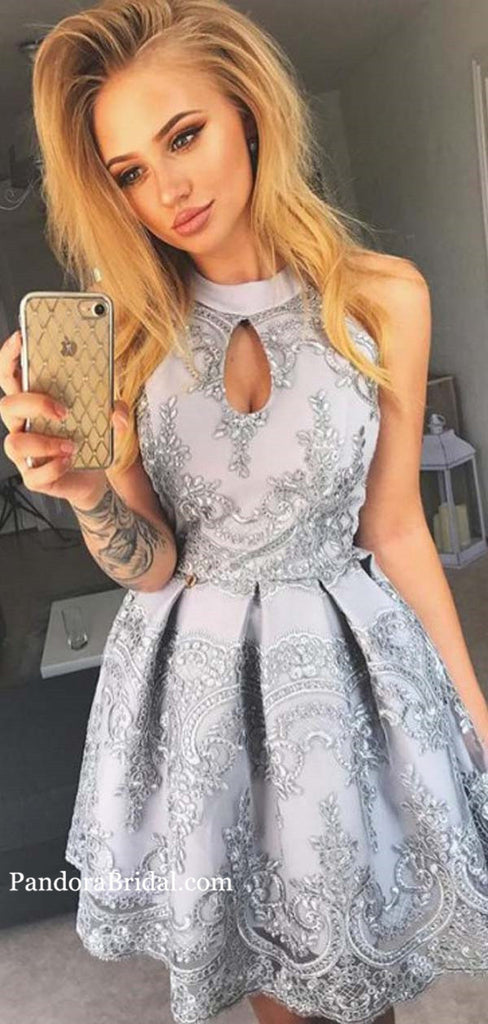 Hot Sale High Neck Sleeveless Lace Homecoming Dresses, Homecoming Dresses, PD0533