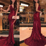 Shiny Burgundy Spaghetti Straps Jewel Mermaid Prom Dresses, Sequin Prom Dresses, PD0426