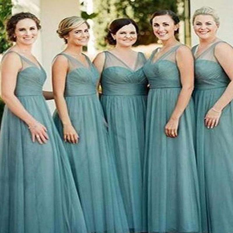 Charming V-Neck Long A-Line Tulle Bridesmaid Dresses, Hot Sale Bridesmaid Dresses, PD0606