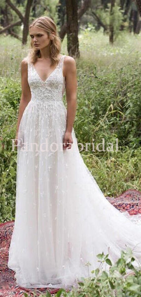 Charming V-Neck Long A-Line Wedding Dresses With Lace, VB03358