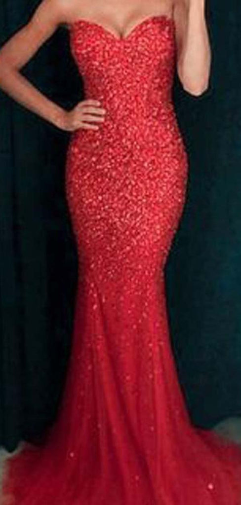 Gorgeous Red Sweetheart Long Mermaid Beading Prom Dresses, Shiny Prom Dresses, VB01913