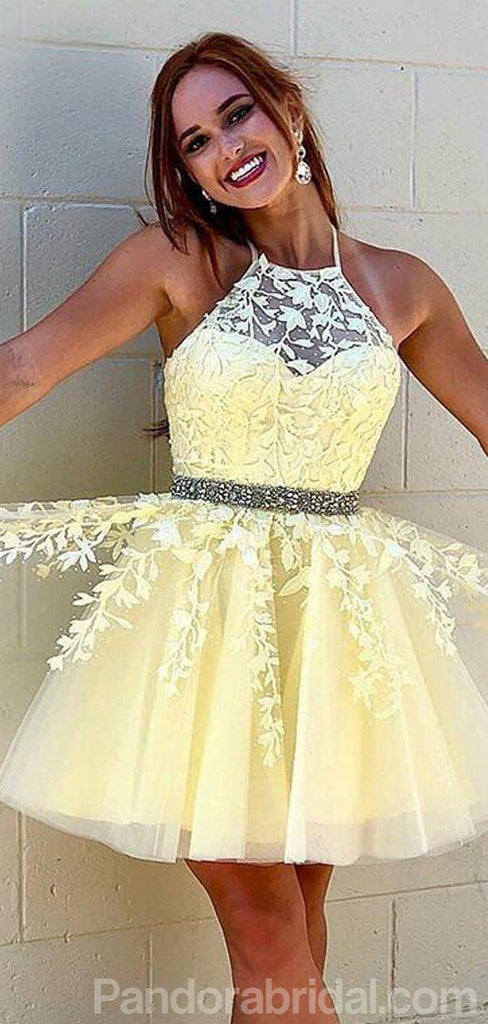 Baby Yellow Halter Lace Homecoming Dresses With Beaded, Homecoming Dresses, VB02477