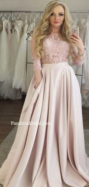 Elegant Two Pieces Lace Top 3/4 Sleeve Long A-Line Satin Prom Dresses, Prom Dresses. PD0555
