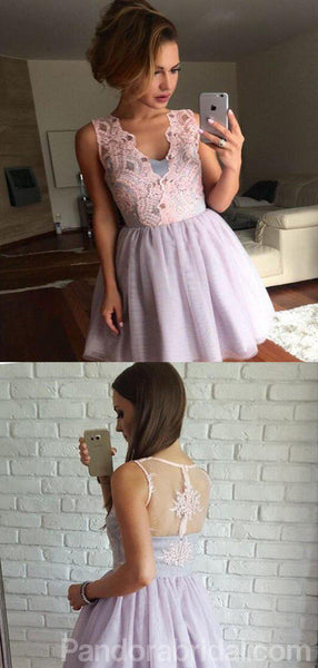 V-Neck Lace Top Short A-Line Tulle Homecoming Dresses, VB02478