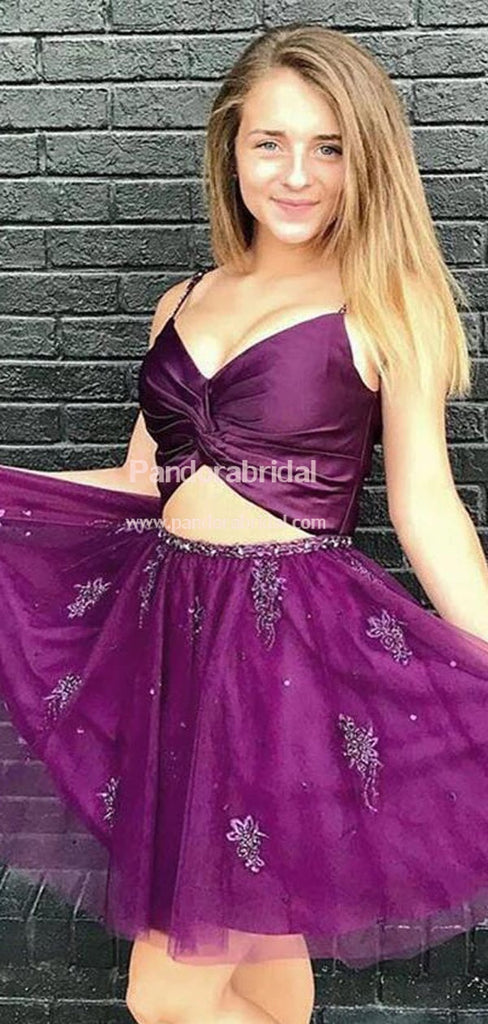 Charming Purple Spaghetti Straps Homecoming Dresses With Appliques, Homecoming Dresses, VB02538