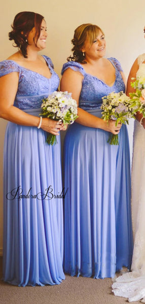 Classic Bubble Sleeves Lace Top Long A-Line Chiffon Bridesmaid Dresses, PD01738