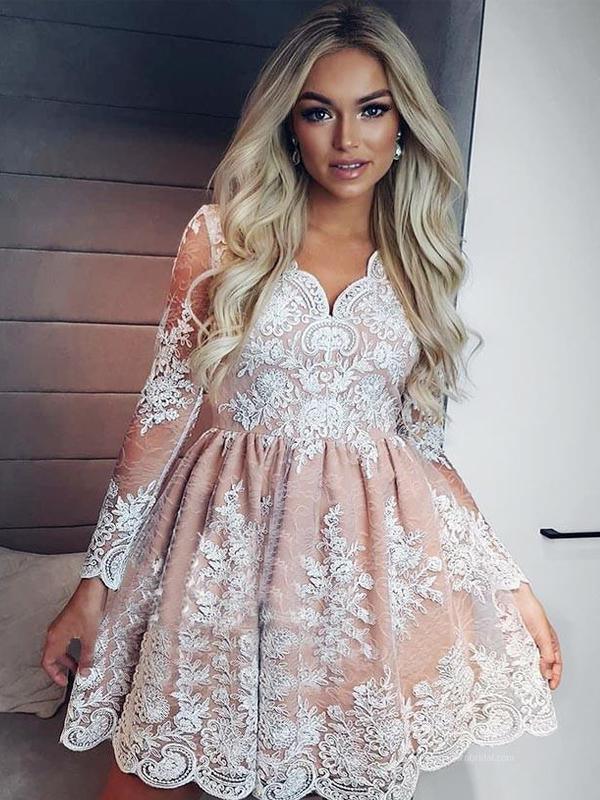 2019 Newest Long Sleeve Homecoming Dresses With Lace Appliques, Homecoming Dresses, VB02493
