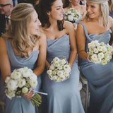 Elegant Dusty Blue One Shoulder Long Mermaid Bridesmaid Dresses, Bridesmaid Dresses, PD0607