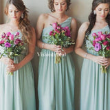 Charming Light Green One Shoulder Long A-Line Chiffon Bridesmaid Dresses, VB02905