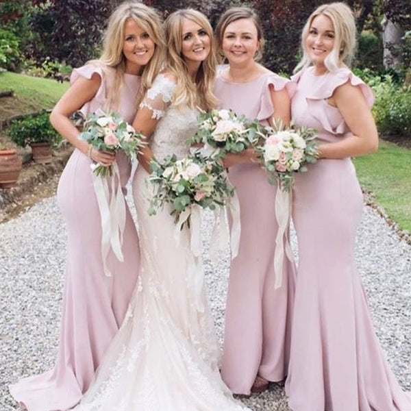 Unique Pink Bateau Neckline Mermaid With Ruffles Bridesmaid Dresses, PD01739