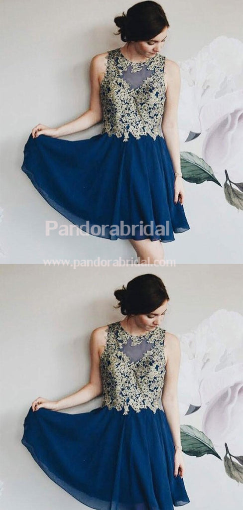 Elegant Navy Blue Illusion Chiffon Homecoming Dresses With Lace Appliques, Homecoming Dresses, VB02524