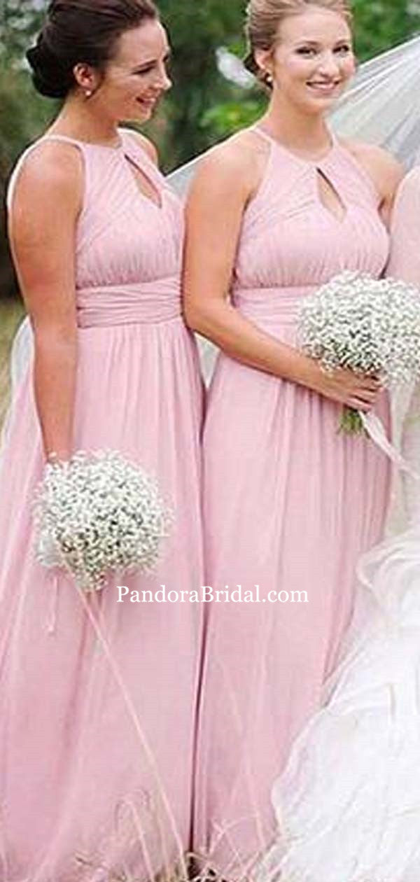 af4d2d5dd17 Lovely Pink High Neck Top Pleated Long A-Line Chiffon Bridesmaid Dresses