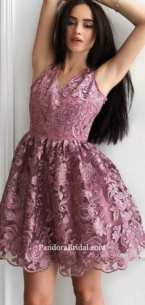 Alluring V-Neck Sleeveless Lace Knee-Length Homecoming Dresses, 2019 Homecoming Dresses, PD0534