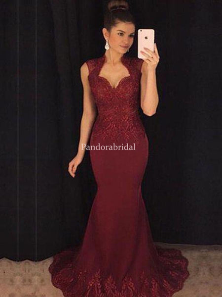 Alluring Burgundy Lace Mermaid Prom Dresses, Evening Dresses, VB03366