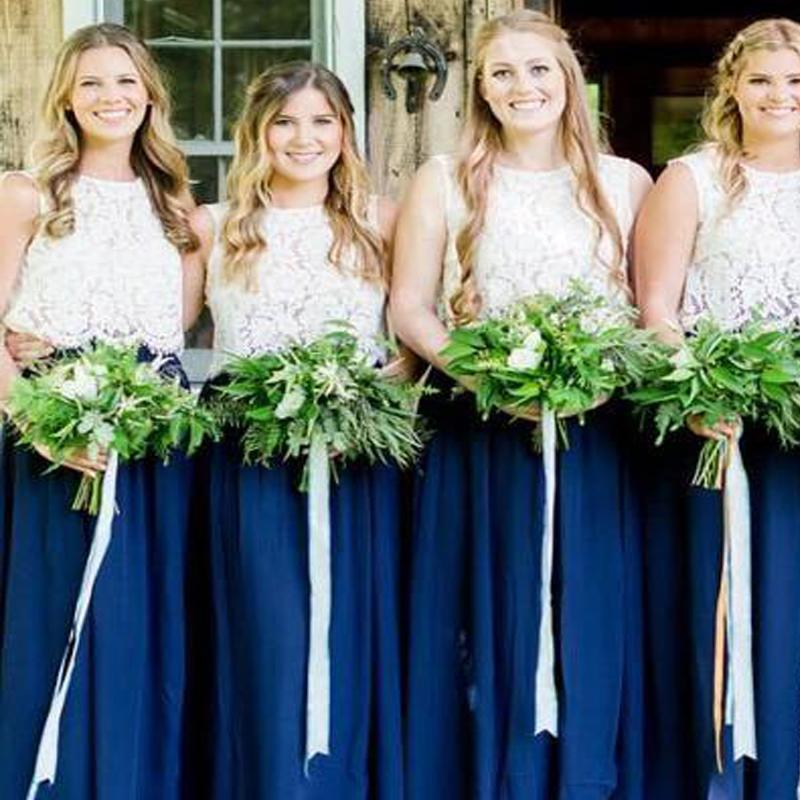 Charming Navy Blue Lace Top A-Line Chiffon Bridesmaid Dresses, VB02930