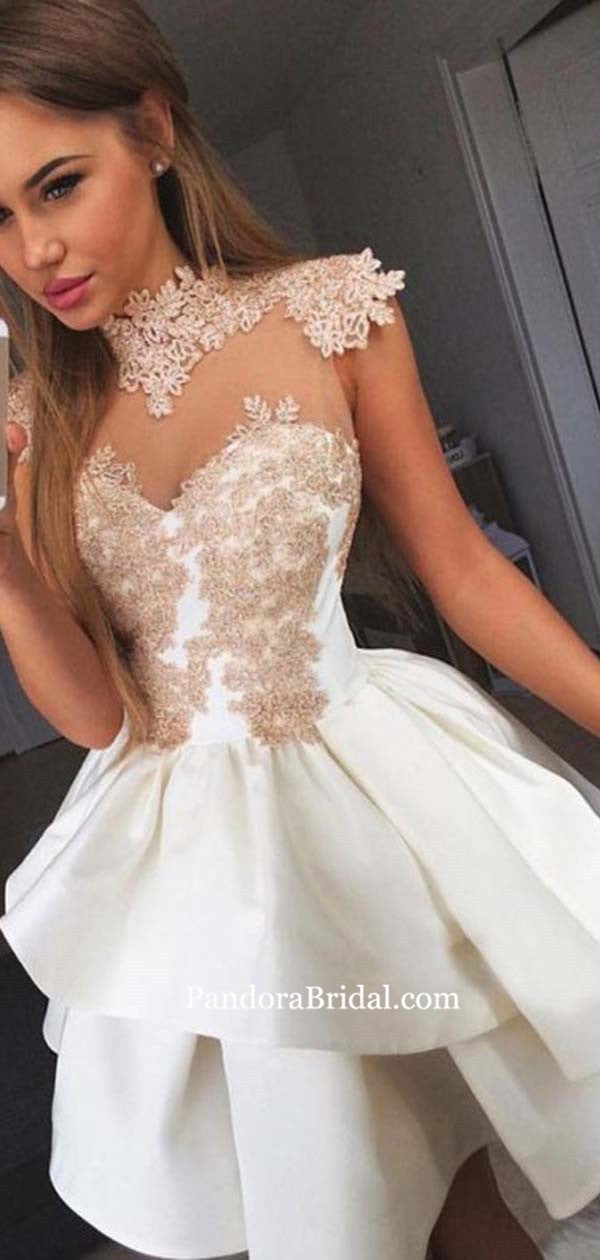 902c4bdd93b High Neck See-through Cap Sleeve Layered Homecoming Dresses With Appliques