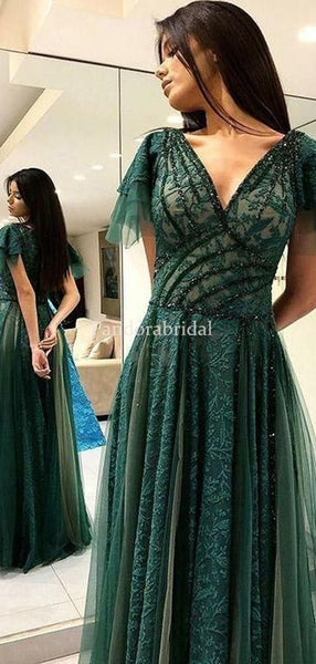Elegant Green V-Neck Short Sleeve Beading Lace A-Line Prom Dresses, Evening Dresses, PD01022