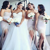 Hot Sale Sweetheart Long Mermaid Beading Bridesmaid Dresses With Lace, Sexy Side Slit Bridesmaid Dresses, PD0669