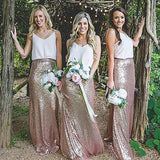 V Neck Casual Long Mermaid Sequin Cheap Bridesmaid Dresses Online, WG261