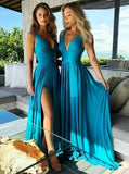 Teal V Neck Side-Slit Cheap Long Bridesmaid Dresses Online, WG298