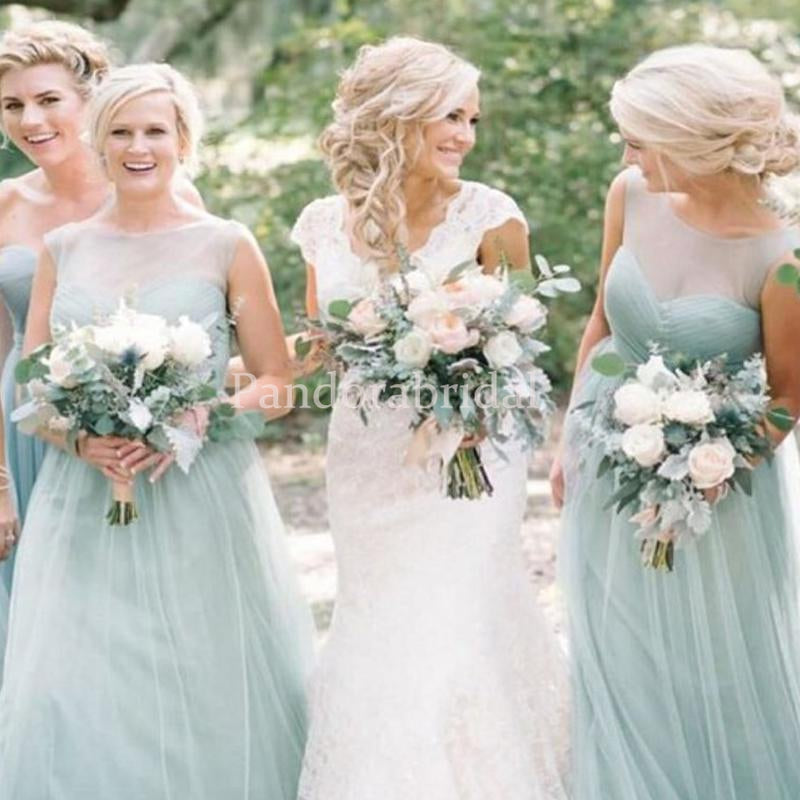Simple Mint Green Illusion Long A-Line Tulle Bridesmaid Dresses, PD01710