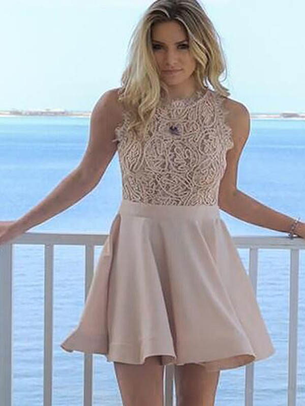 Alluring Lace Top Scoop Neckline Short Homecoming Dresses, Homecoming Dresses, PD0629