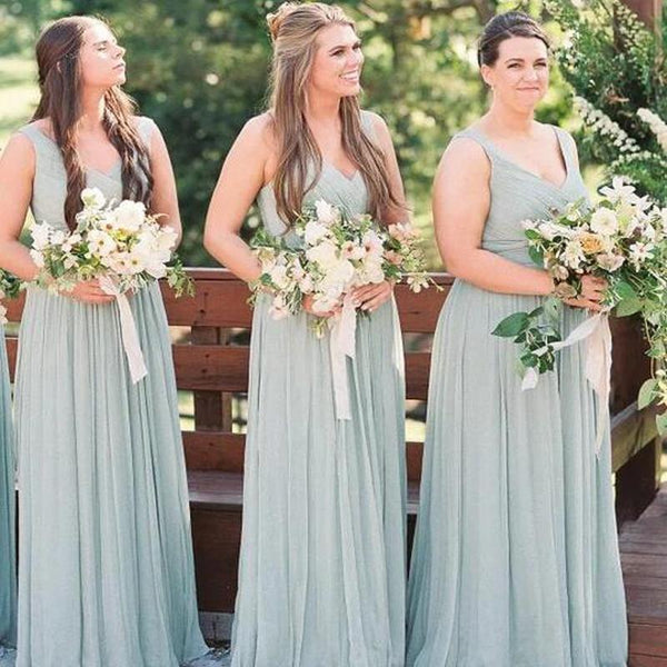 Simple Baby Green V-Neck Top Pleated A-Line Chiffon Bridesmaid Dresses, VB02931
