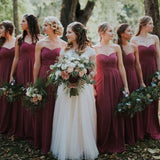 Alluring Sweetheart Pleated Long A-Line Chiffon Bridesmaid Dresses, PD01740