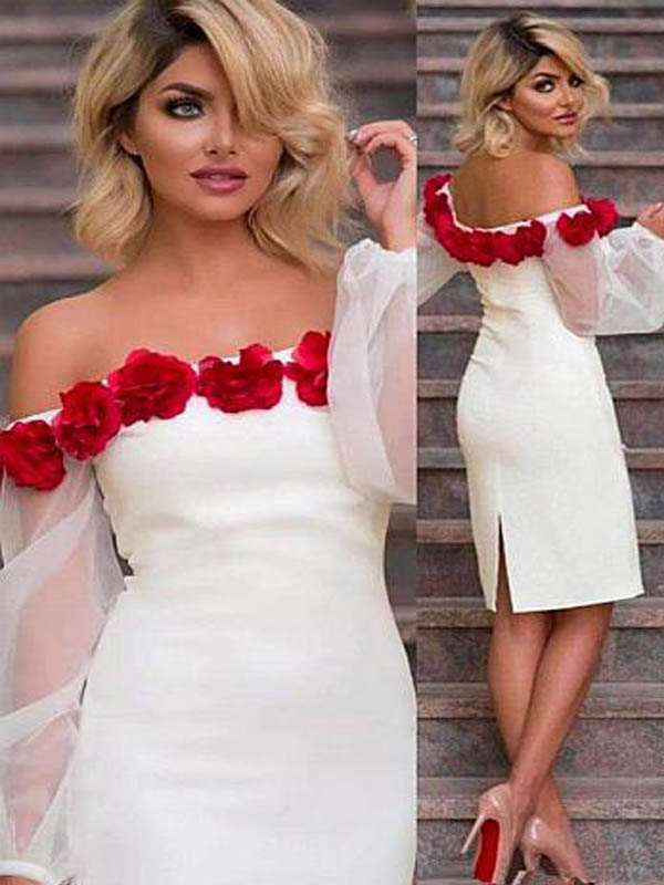 Off White Off Shoulder Knee Length Mermaid Homecoming Dresses With 3D Flower Appliques, Homecoming Dresses, PD0630