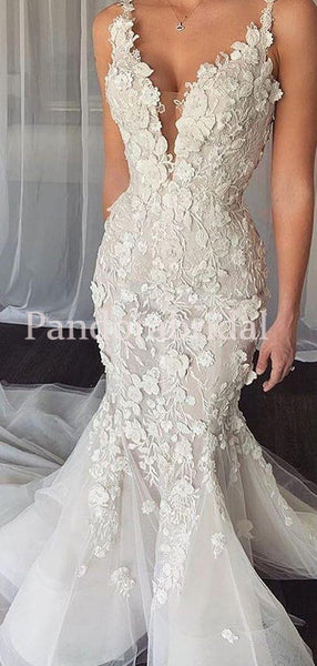 Charming Straps Mermaid Wedding Dresses With Appliques, PD0922