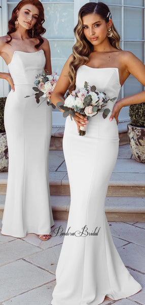 Simple Strapless Mermaid Bridesmaid Dresses, PD01765
