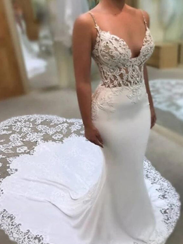 Exquisite Spaghetti Straps Long Mermaid Wedding Dresses With Lace, 2019 Wedding Dresses, PD0839
