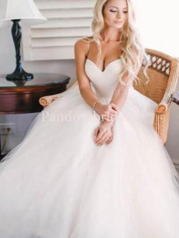 Simple Spaghetti Straps Ball Gown Tulle Wedding Dresses, VB03360