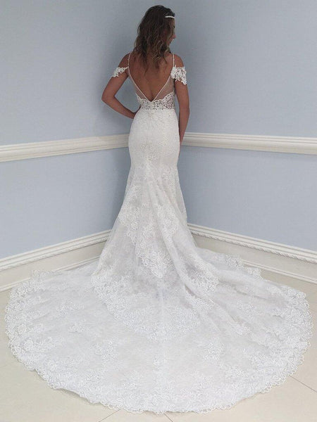 Elegant Spaghetti Straps Neckline Mermaid Wedding Dresses With Appliques, Wedding Dresses With Trailing, PD0662