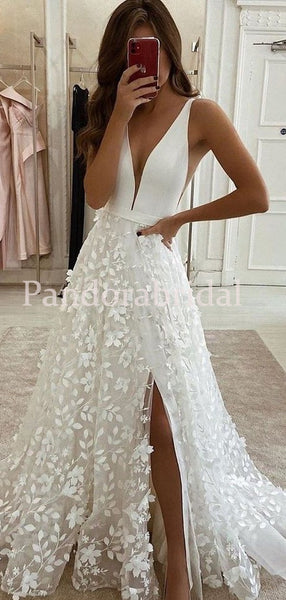 Comfy V-Neck A-Line Side Slit With Appliques Wedding Dresses, PD01724