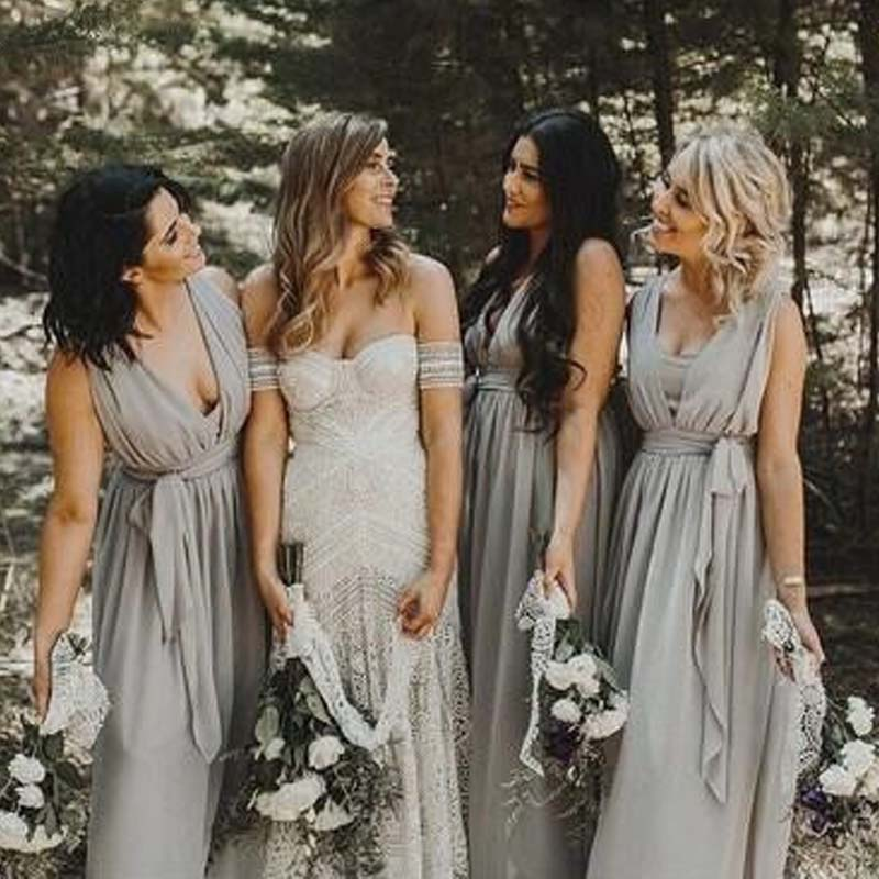 Simple Grey V-Neck Long A-Line Chiffon Bridesmaid Dresses With Sash, Bridesmaid Dresses, PD0330