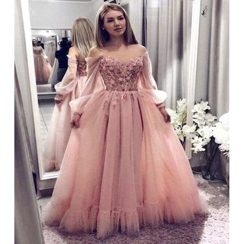 Charming Off Shoulder Long Sleeve Long A-Line Prom Dresses With Appliques, Prom Dresses, PD0551