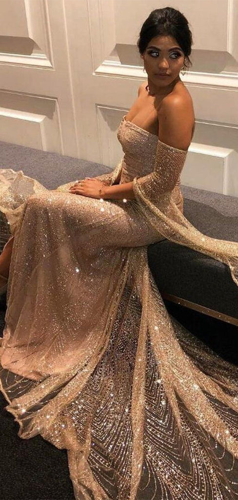 Shiny Off Shoulder Long Mermaid Prom Dresses With Trailing, Prom Dresses, PD0356